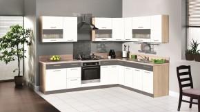 Kuchyňa Marina ľavý roh 285x210 cm (biela vysoký lesk/grafit)