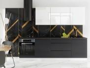 Kuchyňa Marsala - 260 cm (biela vysoký lesk/sivá vysoký lesk)