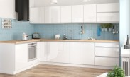 Kuchyňa Maya - 323x203 cm (biela vysoký lesk/dub)