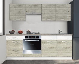 Kuchyňa Santis - 240 cm (figaro/biela/travertin tmavý)