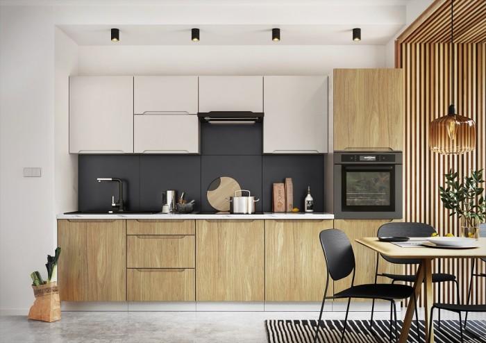 Kuchyňa Zoya - 300 cm (sivá / drevo)