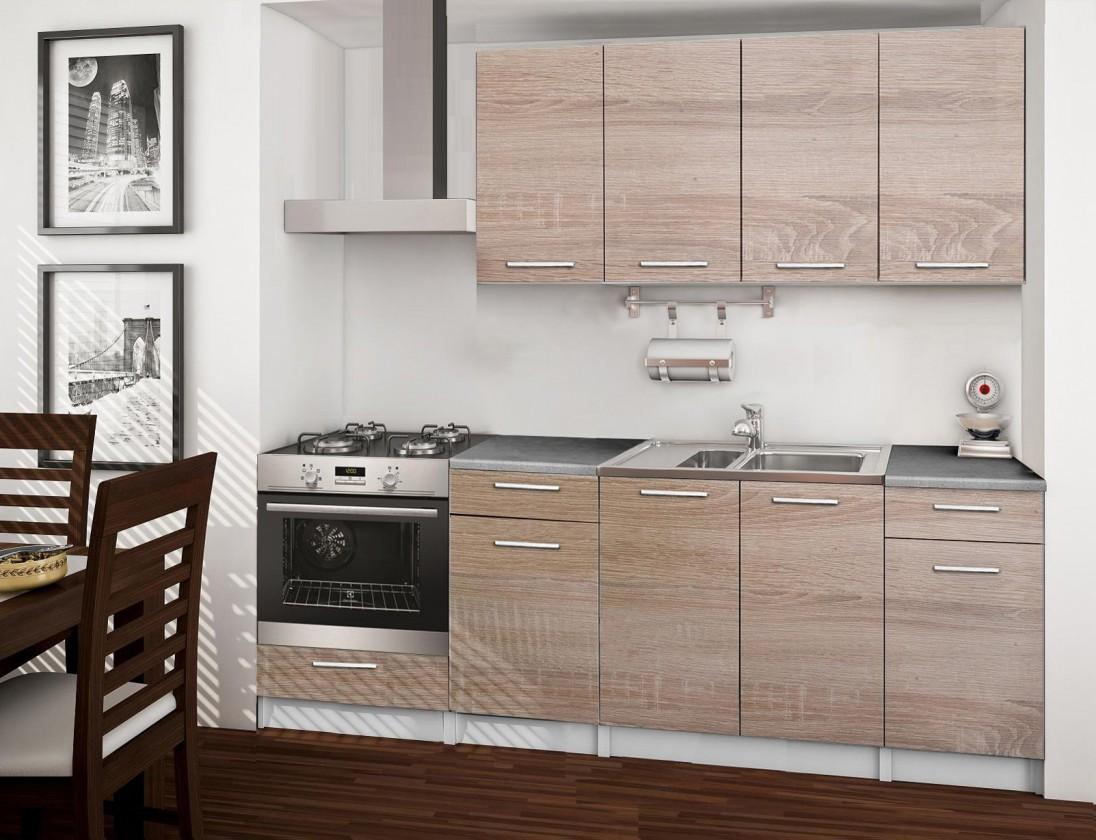 Kuchyne, jedálne ZLACNENÉ Basic - kuchynský blok C, 220 cm (dub sonoma)