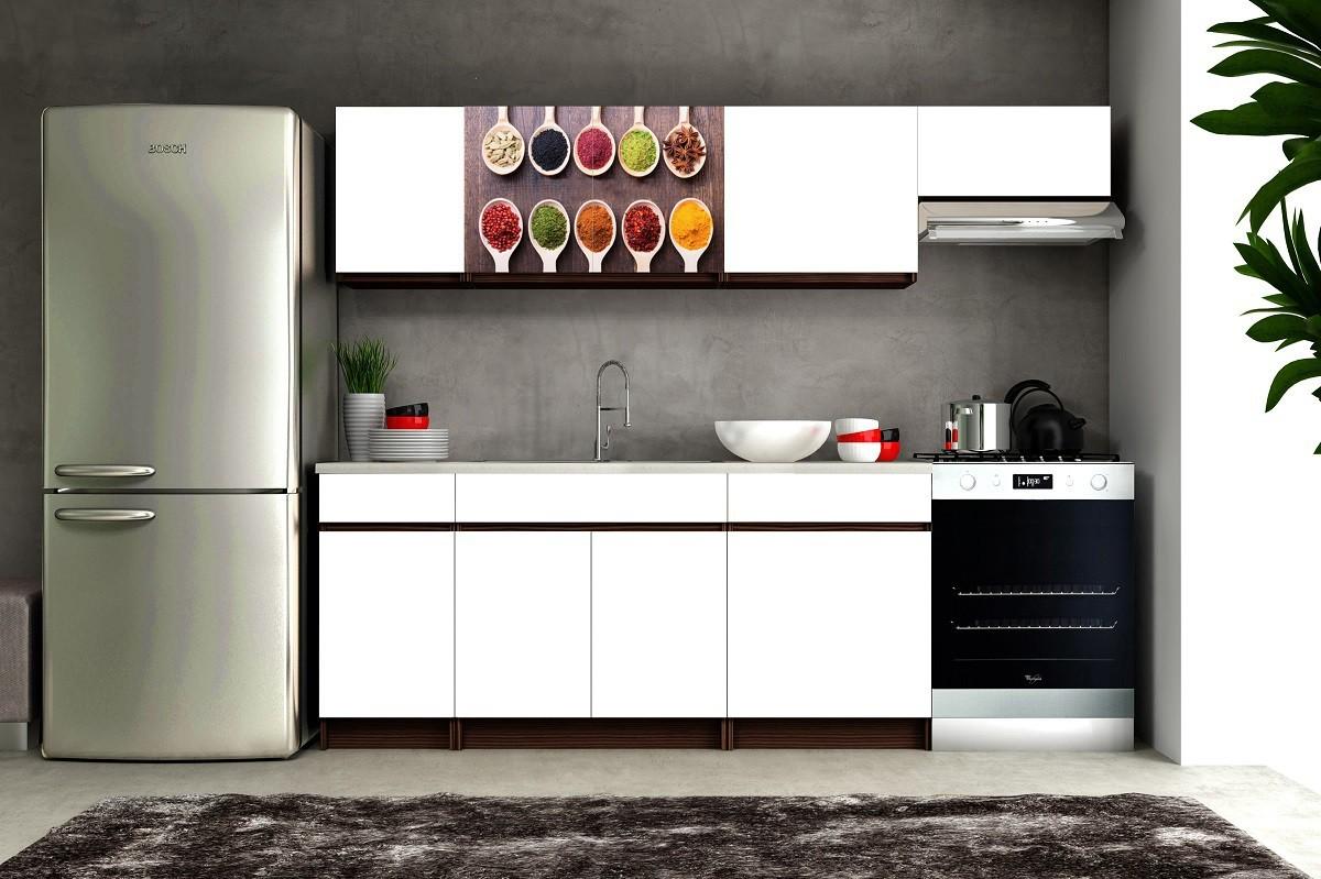 Kuchyne, jedálne ZLACNENÉ Eliza 2 - 180/240 cm (wenge/biela/travertín tmavý/korenie)