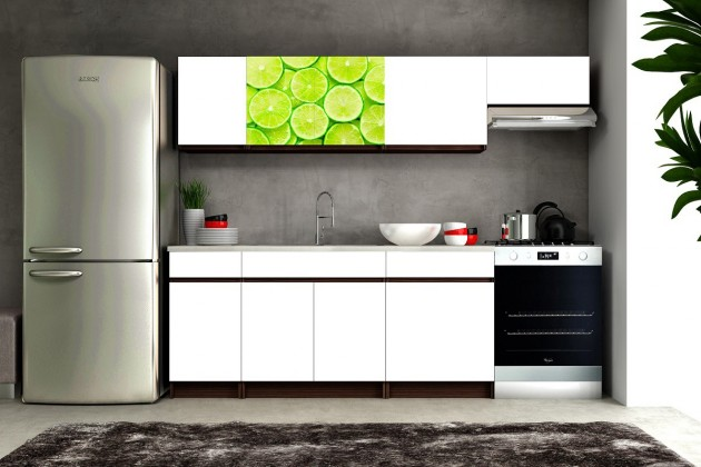 Kuchyne, jedálne ZLACNENÉ Eliza 2 - 180/240 cm (wenge/biela/travertín tmavý/limetka)
