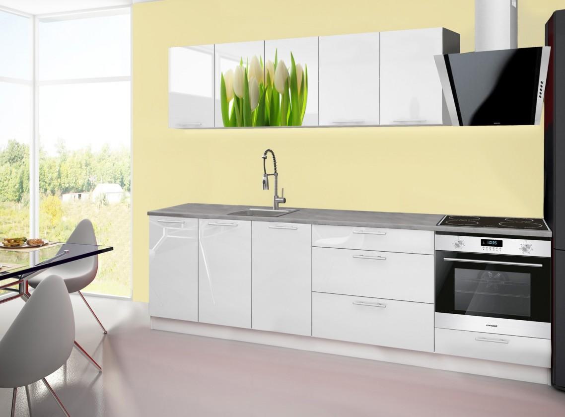 Kuchyne, jedálne ZLACNENÉ Emilia 2 - Kuchynský blok A, 260cm (biela, titan, tulipány)