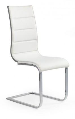 Kuchyne, jedálne ZLACNENÉ Jedálenská stolička K104 (chróm,eko koža biela,sivá) - II. akosť