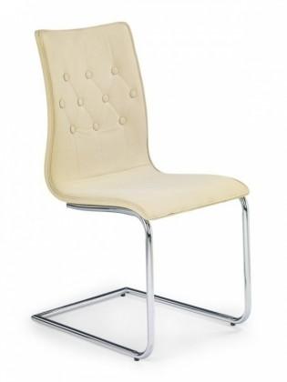 Kuchyne, jedálne ZLACNENÉ Jedálenská stolička K149 (bežová,chróm.ocel/ekokoža) - II. akosť