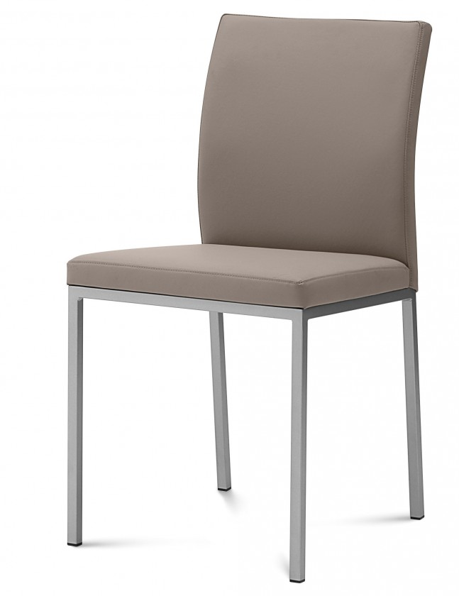 Kuchyne, jedálne ZLACNENÉ Jedálenská stolička Miro (saténový hliník,taupe B14) - VYSTAVENÉ