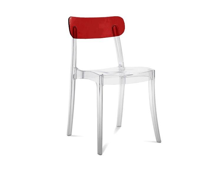 Kuchyne, jedálne ZLACNENÉ Jedálenská stolička New retro (Priehľadná/bordo) - II. akosť