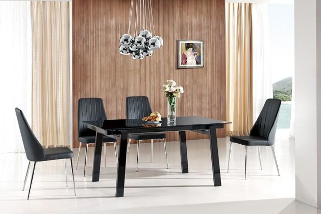 Kuchyne, jedálne ZLACNENÉ Jedálenský stôl Benedikt (sklo - čierna,orech) - II. akosť