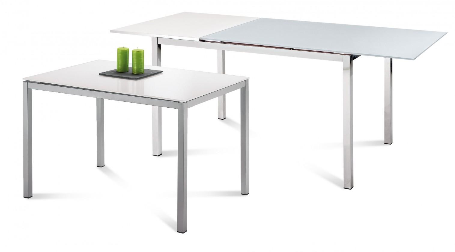Kuchyne, jedálne ZLACNENÉ Jedálenský stôl Full (saténový hliník, biela matná) - II. akosť