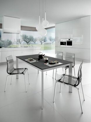 Kuchyne, jedálne ZLACNENÉ Jedálenský stôl Universe 110 (sivá bridlica/hliník) - II. akosť