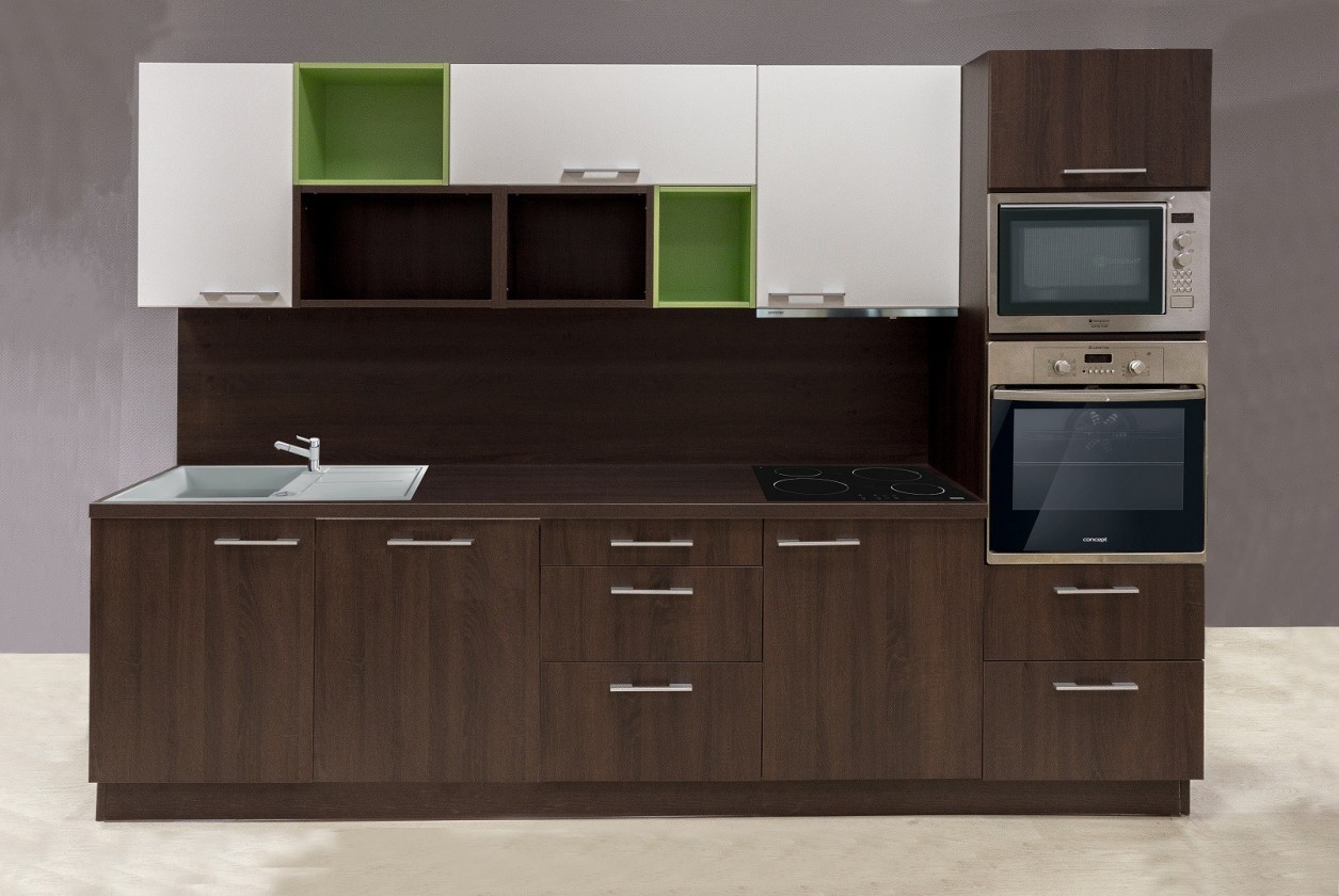 Kuchyne, jedálne ZLACNENÉ Kuchyňa Domino (dub bardolino Schoko,biela,oliva) - II. akosť