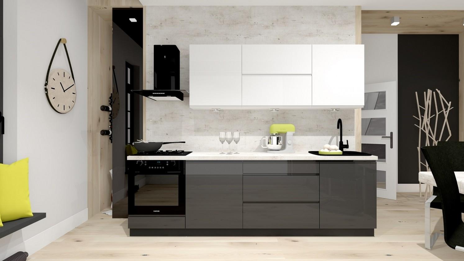 Kuchyne, jedálne ZLACNENÉ Kuchyňa Nina - 260 cm (biela vysoký lesk/sivá vysoký lesk)
