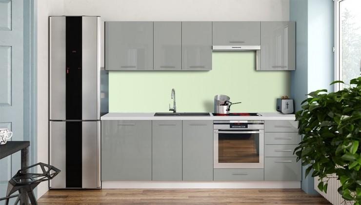 Kuchyne, jedálne ZLACNENÉ Kuchynská linka Emilia Lux 240 cm (sivá vysoký lesk) -II.akosť