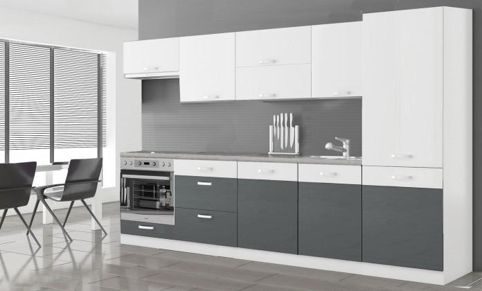 Kuchyne, jedálne ZLACNENÉ Manhattan - Kuch.blok 300cm (biela/sivá