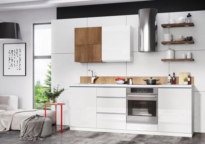Kuchynská linka Elza 240 cm (biela vysoký lesk/akácia)