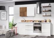 Kuchynská linka Elza 240 cm (biela vysoký lesk/akácie)