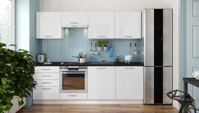 Kuchynská linka Emilia 240 cm (biela vysoký lesk/čierna)