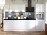 Kuchynská linka Emilia 300 cm (biela vysoký lesk/čierna)
