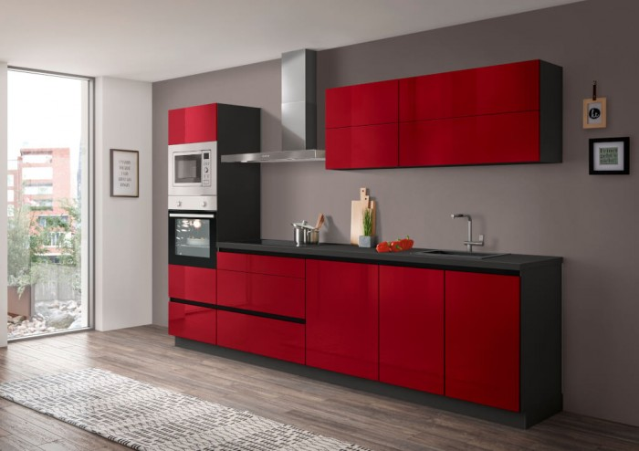 Kuchynská linka Eugenie 300 cm (červená, vysoký lesk, sivá, lak)