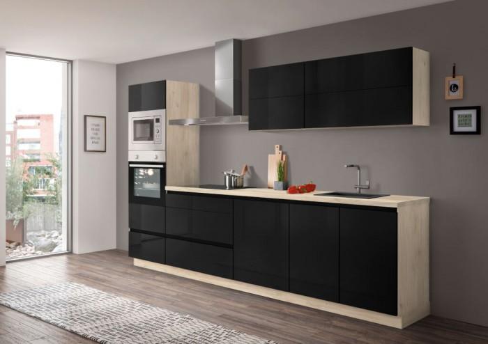 Kuchynská linka Eugenie 300 cm (čierna, vysoký lesk, dub, lak)