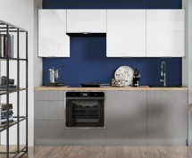 Kuchynská linka Jodie 220 cm (biela, sivá, vysoký lesk)