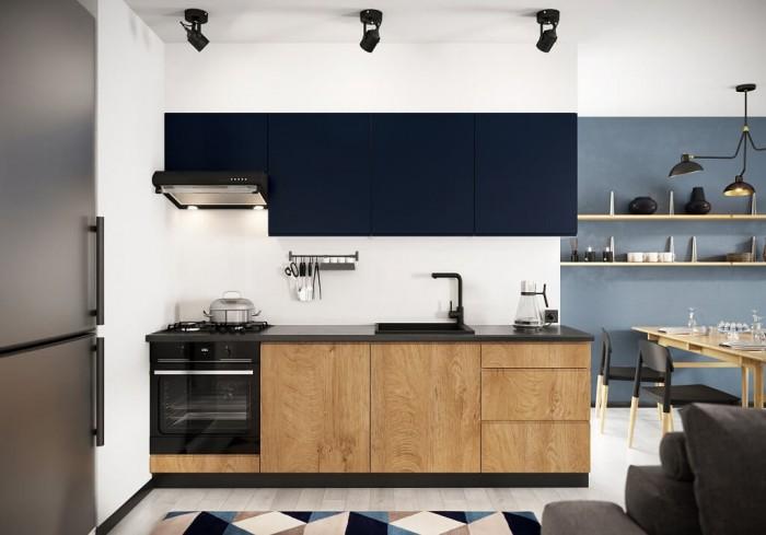 Kuchynská linka Leya 240 cm (modrá mat/drevo)