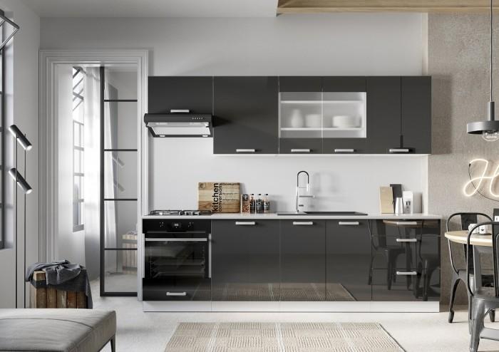 Kuchynská linka Vicky 260 cm (sivá lesklá)