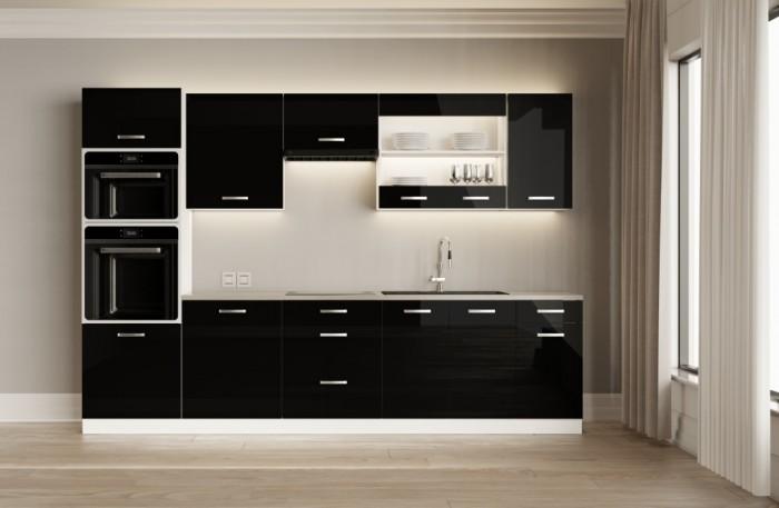 Kuchynská linka Vicky black 300 cm (čierna vysoký lesk)