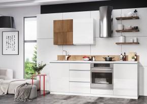 Kuchynský blok Elza - 240 cm (biela / biela lesk, akácie / PD tes