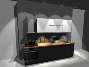 Kuchynský blok Nina - 260 cm (bielo-sivá lesk)