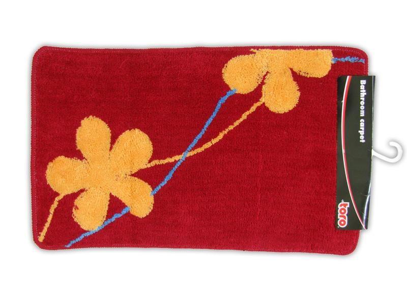 Kúpeľňová predložka, 50x80 cm (červená s oranžovými kvetmi)