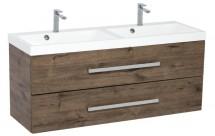 Kúpeľňová skrinka s umývadlom Tiera závesná (120x53x40 cm, dub)