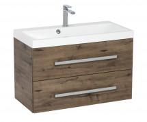 Kúpeľňová skrinka s umývadlom Tiera závesná (80x53x40 cm, dub)