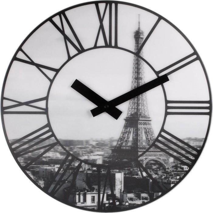 La Ville - hodiny, nástenné, guľaté (plast, čierne)