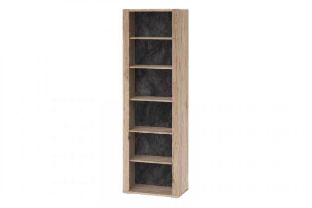 Lacné skrine Regál Minneota - typ 13 (dub sanremo pieskový/bridlice)