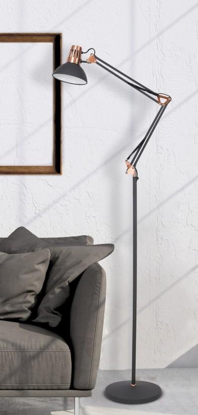 Lampy Stojaca lampa Gareth, kovová, s pohyblivým ramenom, 172cm