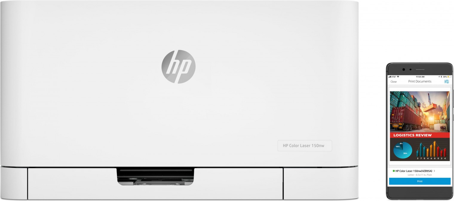 Laserová tlačiareň Laserová tlačiareň HP Color Laser 150nw, 4ZB95A POUŽITÉ, NEOPOTR