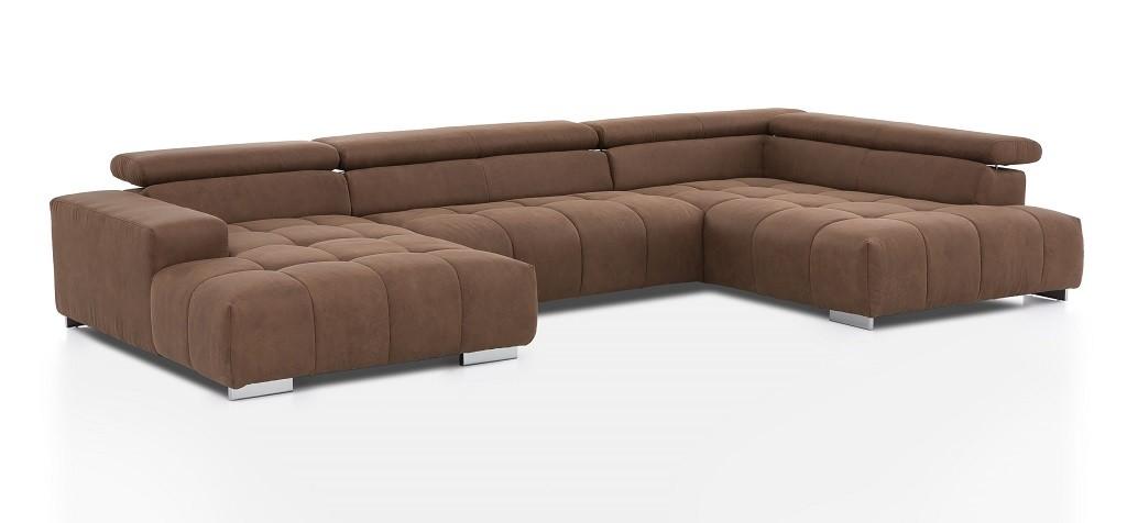 Látkové sedačky v tvare U Sedacia súprava v tvare U Treviso pravý roh hnedá