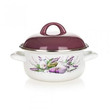 Lavender - Smaltovaný kastról, 20cm (biela, fialová)