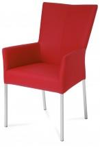 Lazy - Jedálenská stolička s podrúčkami (brúsená nerez/látka/PU)