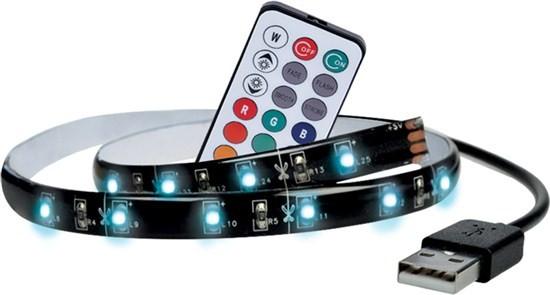 LED pásiky Solight LED RGB pásik pre TV,100cm,USB,diaľkový ovládač,WM503
