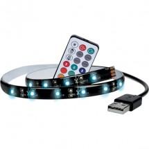 LED RGB pásek pro TV, 2x 50cm, USB, vypínač, dálkový ovladač POU