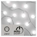 LED svetelná cherry reťaz   guľôčky 2,5cm, 4m, stud. b.,čas.
