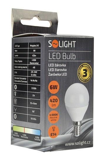 LED žiarovka Solight LED žiarovka, miniglobe, 6W, E14,4000K, 420L, biela
