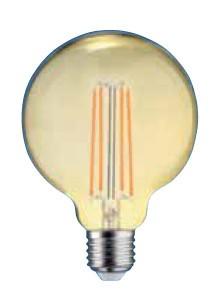 LED žiarovka Tesla CRYSTAL, E27, 4W, G125, retro, teplá biela
