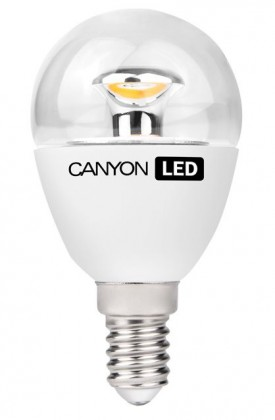 LED žiarovky Canyon LED COB žárovka, E14, kompakt kulatá průhledná, 3.3W