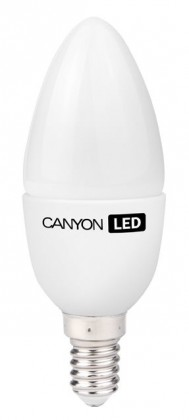 LED žiarovky Canyon LED COB žárovka, E14, svíčka, mléčná, 3.3W
