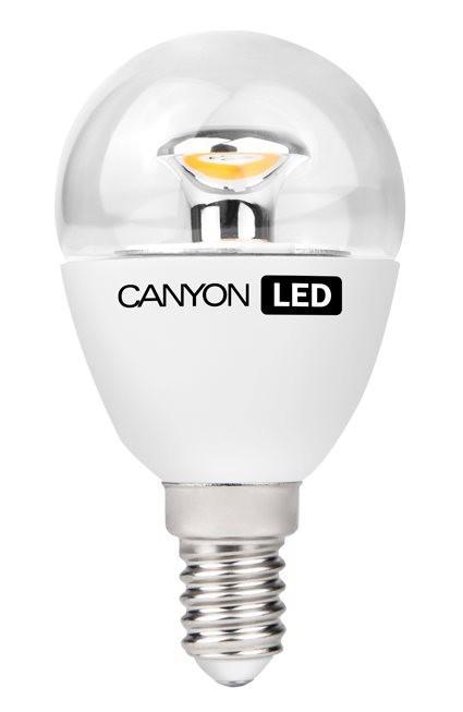 LED žiarovky CanyonLEDCOBžiarovka, E14, guľatá priehľadná, 6W, teplá biela